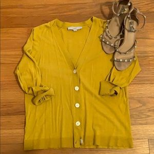 LOFT Mustard Yellow Cardigan